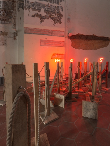 Mess, Installation, wood, rope, metal toggles, neon lights, dimensions variable, 2016