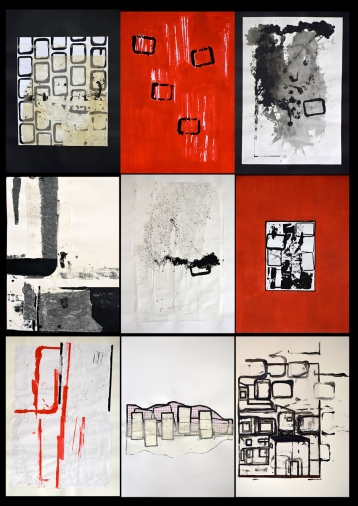 03 karl & rene - boxes series -complete- (70x50cm [each piece] mixed media on paper)