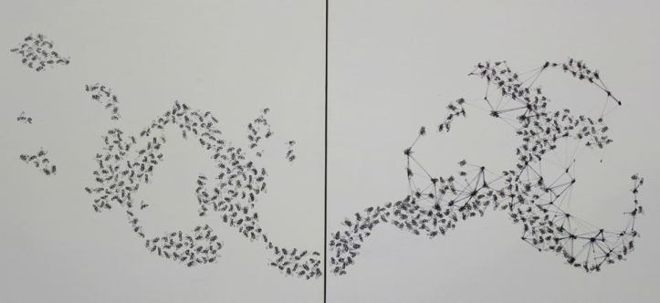 Let the fly guide you, 100x50cm(diptych) ink & acrylic on canvas(2014)