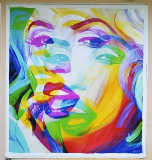 'Marilyn' 200x200 cm, Σπρέυ σε καμβά,2018